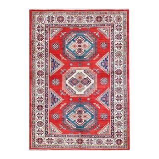 Herat Oriental Afghan Hand-knotted Tribal Vegetable Dye Super Kazak Wool Rug (5'4 x 7'8)