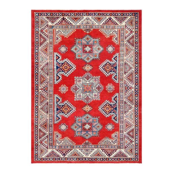 Herat Oriental Afghan Hand-knotted Tribal Vegetable Dye Super Kazak Wool Rug (5'6 x 7'8) - 5'6 x 7'8