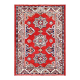 Herat Oriental Afghan Hand-knotted Tribal Vegetable Dye Super Kazak Red/ Ivory Wool Rug (5'6 x 7'8)