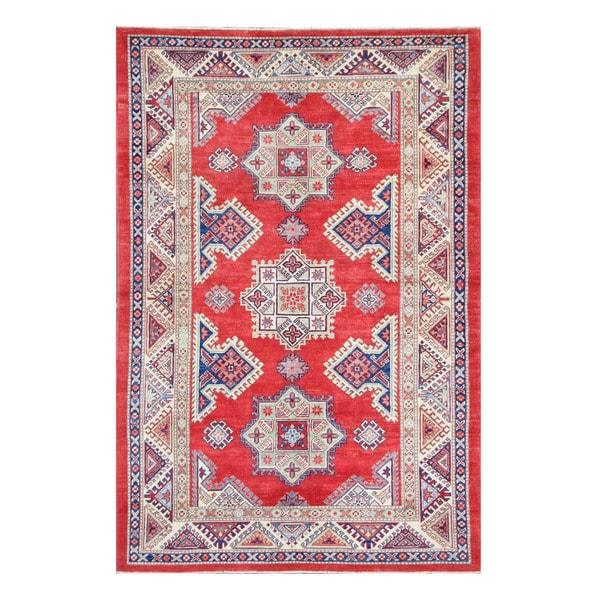 Handmade Herat Oriental Afghan Tribal Vegetable Dye Super Kazak Wool Rug - 5'3 x 8' (Afghanistan)