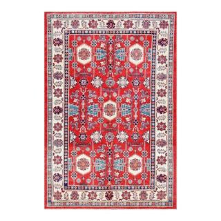 Herat Oriental Afghan Hand-knotted Tribal Vegetable Dye Super Kazak Red/ Ivory Wool Rug (5'7 x 8'3)