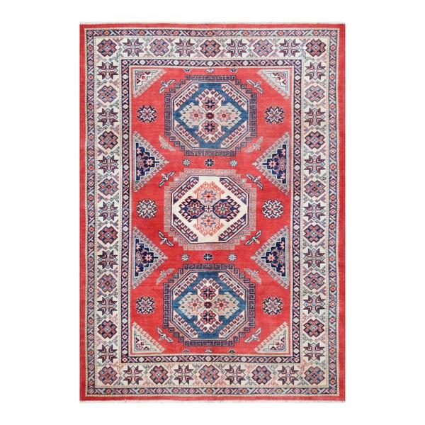 Herat Oriental Afghan Hand-knotted Tribal Vegetable Dye Super Kazak Wool Rug (5'5 x 7'9)
