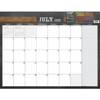 22-inch July 2015 - June 2016 Desk Blotter Calendar