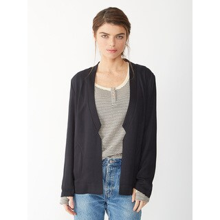 Alternative Women's Black Rayon Twill Notch Blazer