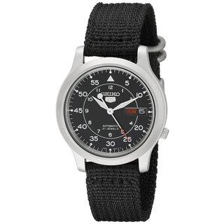 Seiko Men's Automatic Black Dial Black Canvas Watch