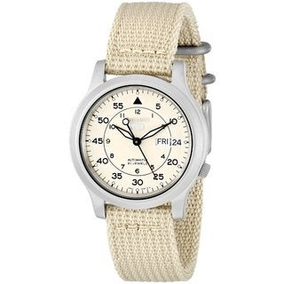 Seiko Men's Automatic Beige Dial Beige Canvas Watch