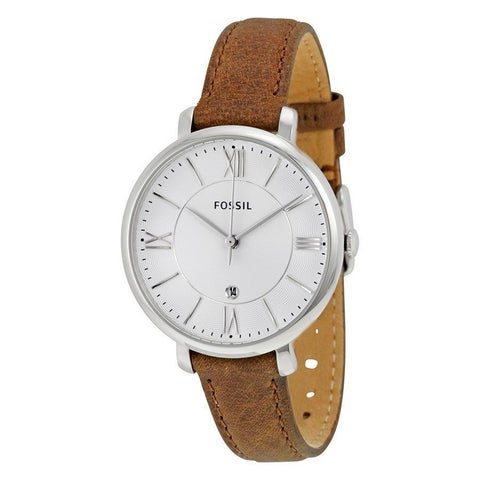 Fossil Women's Jacqueline Silver Dial Brown Leather Strap Quartz Watch