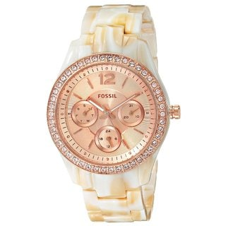 Fossil Women's Stella Diamond Multi-Function Rose Dial Pearlized Resin Bracelet Watch ES3578