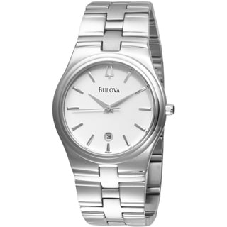 Bulova Men's Analog White Dial Siver-Tone Stainless Steel Bracelet Watch 96B106
