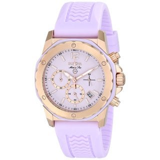 Bulova Women's Marine Star Pink Dial Pink Rubber Strap Chronograph Watch 98m118