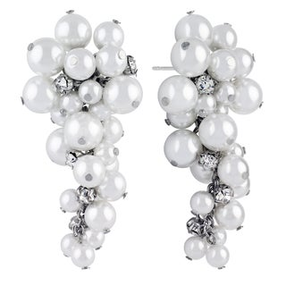 Roman Faux White Pearl Faceted Crystal Dangle Drop Earrings