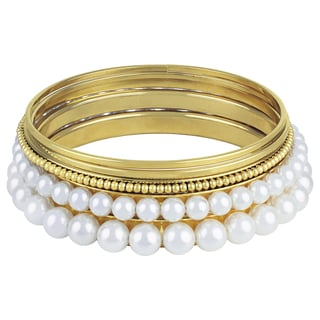 Roman Goldtone High Polish Faux Pearl Bangle 5-Bracelet Set