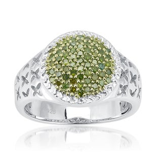 Sterling Silver 1/2ct Green Diamond Dome Ring (I2-I3)