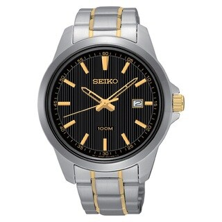 Seiko Men's SUR167 Stainless Steel Black Dial Watch