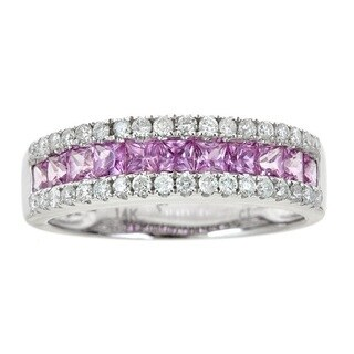 Anika and August 14k White Gold Princess-cut Pink Sapphire 2/5ct TDW Diamond Ring (G-H, I1-I2) (Size 7)