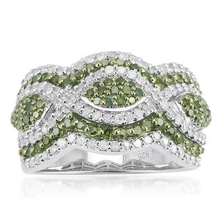 Sterling Silver 1 1/4ct TDW Green and White Diamond Multi Row Ring (H-I, I2-I3)