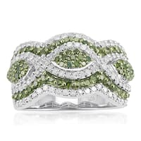 Sterling Silver 1 1/4ct TDW Green and White Diamond Multi Row Ring