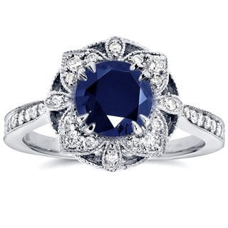 Annello by Kobelli 14k White Gold Round-cut Sapphire and 1/4ct TDW Diamond Floral Antique Ring