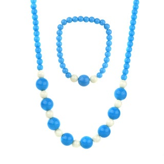 Crummy Bunny Little Girl Blue Acrylic Bead Necklace and Bracelet Set