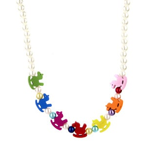 Crummy Bunny Little Girl Faux Pearl and Wooden Rocking Horse Necklace