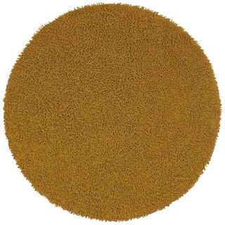 Gold Shagadelic Chenille Twist Round Rug (3' x 3')