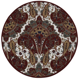 Red Paisley Wave Round Rug (6' x 6')