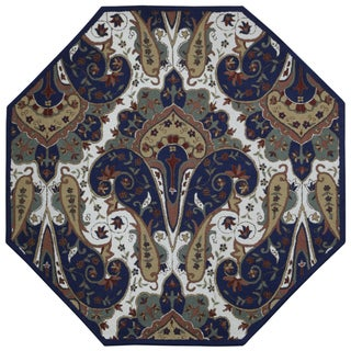 Blue Paisley Wave Octagon Rug (6' x 6')