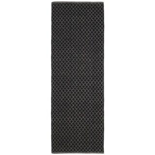 Black Jute Trellis Flat Weave Runner (2.5' x 12')