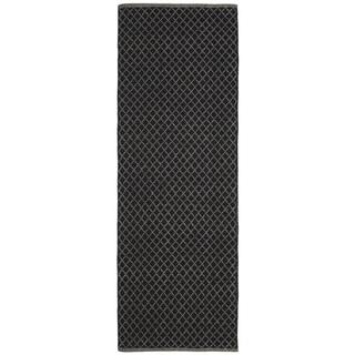 Black Jute Trellis Flat Weave Runner (2.5' x 8')