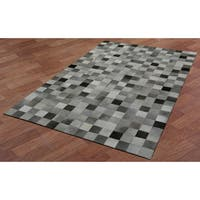 White Squares Leather Hair-On Hide Matador Rug (5' x 8') - 5' x 8'