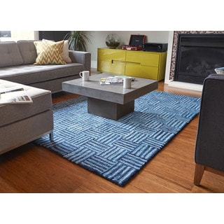 Jani Sani Hand-tufted Blue Recycled Cotton Area Rug (5' x 8')