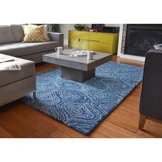Jani Lanti Hand-tufted Blue Recycled Cotton Lantern Design Rug (8' x 10')