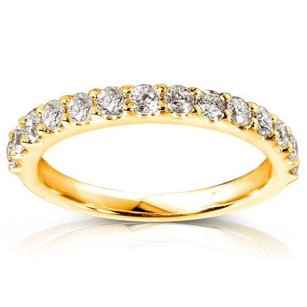 Annello by Kobelli 14k Yellow Gold 1/2ct TDW Diamond Semi-Eternity Wedding Band