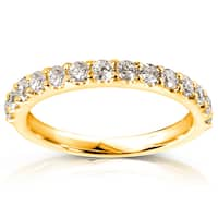 Annello by Kobelli 14k Yellow Gold 1/2ct TDW Diamond Semi-Eternity Wedding Band