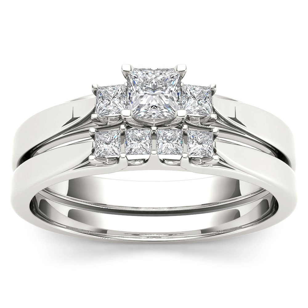 De Couer 14k White Gold 1/2ct TDW Diamond Three-Stone Eng...