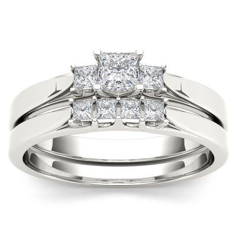 De Couer 14k White Gold 1/2ct TDW Diamond Three-Stone Engagement Ring Set with One Band - White H-I