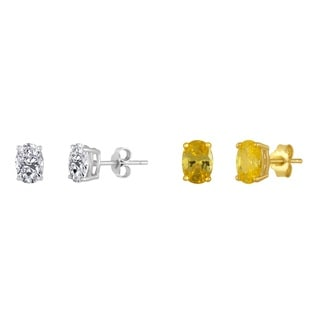 Sterling Silver Yellow and White Oval Cubic Zirconia Two-pair Stud Earrings Set