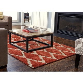 Jani Talia Hand-tufted Rust Orange Rayon from Bamboo Viscose and Jute Diamond Rug (5' x 8')