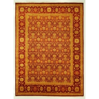 Hand-Knotted Wool Oriental Floral Red Chobi Rug (9'1 x 12'3)