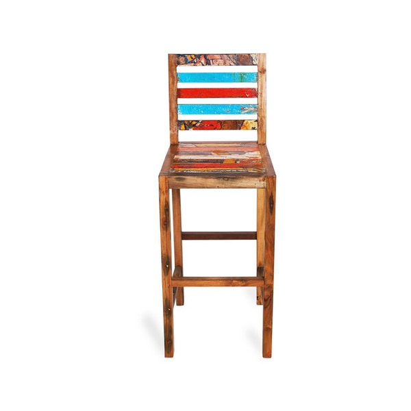Barefoot Reclaimed Wood Bar Stool Free Shipping Today