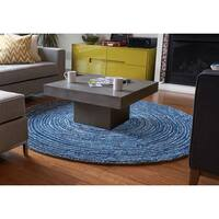 Jani Rippa Hand-tufted Blue Recycled Cotton Round Rug (8' x 8')
