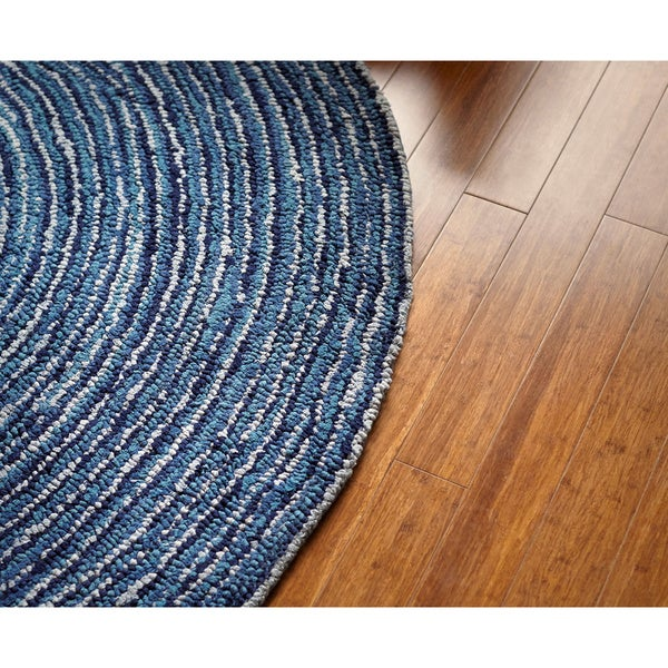 Jani Rippa Hand-tufted Blue Recycled Cotton Round Rug (6' x 6')
