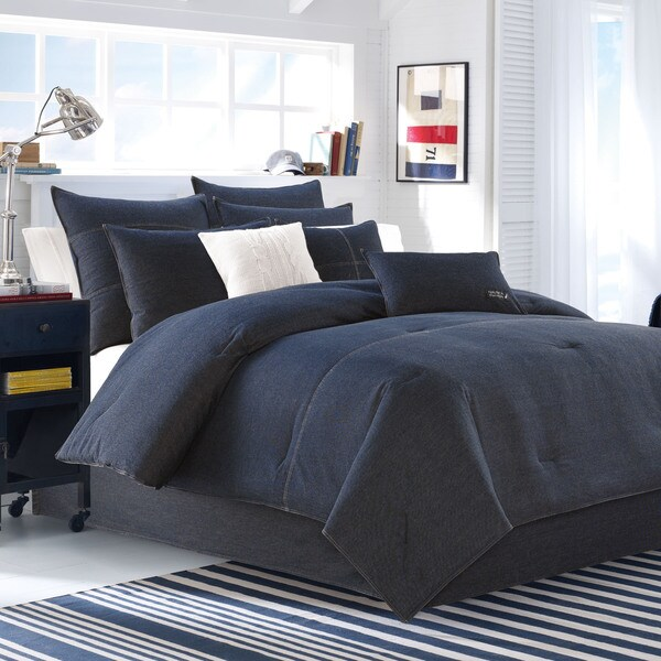 Shop Nautica Seaward Denim 3 Piece Comforter Set On Sale