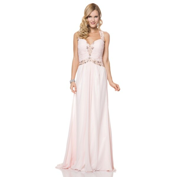 Bari Jay Ruched Chiffon Beaded Halter Open Back Evening Gown