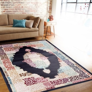 Traditional Oriental Medallion Design Navy/Multi-colored Indoor Area Rug (7'10 x 10'2)