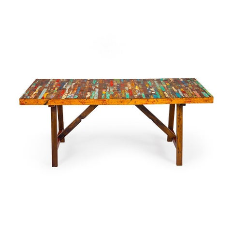 Buoy Crazy Reclaimed Wood Dining Table - Multi