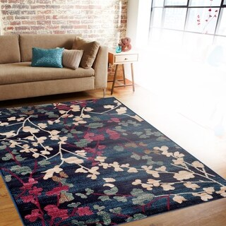 Contemporary Floral Navy Indoor Area Rug (3'3 x 5')