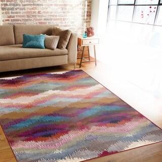 Distressed Modern Geometric Multi-colored Indoor Area Rug (3'3 x 5')