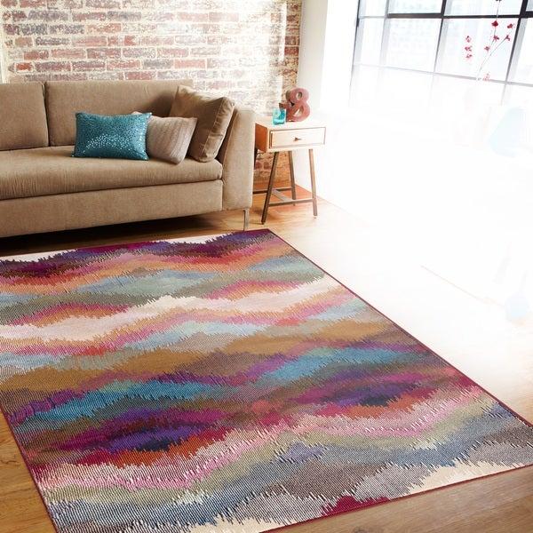 Distressed Modern Geometric Multi-colored Indoor Area Rug - 7'10 x 10'2