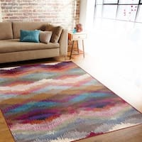 Distressed Modern Geometric Multi-colored Indoor Area Rug (7'10 x 10'2) - Blue - 7'10 x 10'2